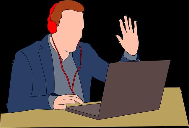 オンライン英会話で話す男性